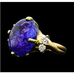 12.36 ctw Tanzanite And Diamond Ring - 14KT Yellow Gold