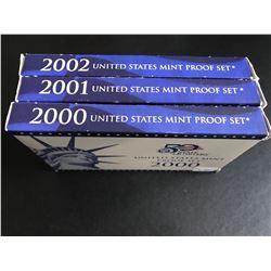 2000,2001,2002 US Mint Proof Set