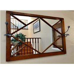 PINE HALL MIRROR COMPLETE WITH HOOKS