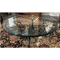 WROUGHT IRON & GLASS COFFEE TABLE