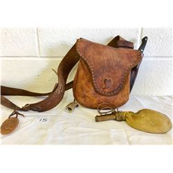 LEATHER AMMO POUCH W / BP SACK, HORN, KNIFE