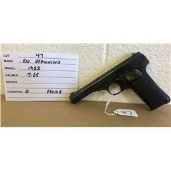 FN BROWNING, MODEL 1922, 7.65 MM