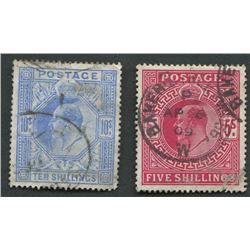 Great Britain 1902-11 5 and 10 Shilling Stamps