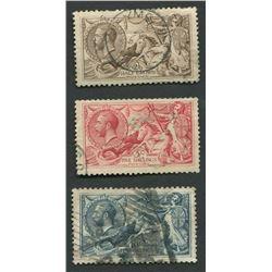 Great Britain 1919 Seahorses Stamp Set 1