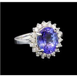 14KT White Gold 3.87 ctw Tanzanite and Diamond Ring