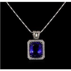18KT White Gold 16.95 ctw Tanzanite and Diamond Pendant