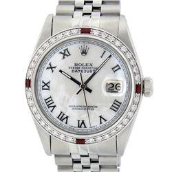 Rolex Mens Stainless Steel Silver MOP Roman 36MM Diamond & Ruby Datejust Wristwa