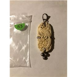 Large Asian Ox Bone Peacock and Sterling Silver Pendant