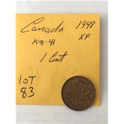 1948 Canada 1 Cent in Extra Fine Grade