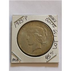 1925 P MS  High Grade Peace Silver Dollar Nice Early US Coin