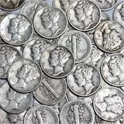 50 Total US Silver Dimes 1916 to 1964 Mixed