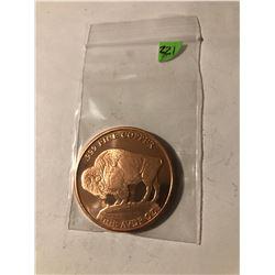 2013 BUFFALO CHIEF 1oz Copper Coin 999 Fine Copper