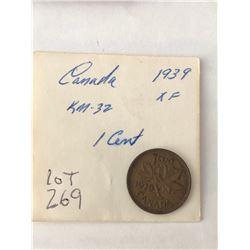 1939 Canada 1 Cent Extra Fine Grade