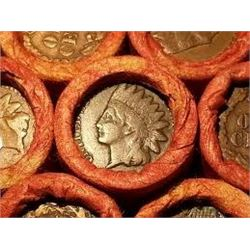 Roll of 50 Pennies with an Indian Head Penny on End Showing
