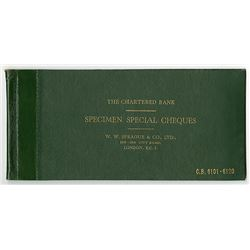 Chartered Bank, Specimen Special Cheques, W.W. Sprague & Co., LTD., ca.1940-50's Specimen Book of Ch