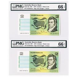 Australia, Reserve Bank, 1979 Sequential Pair of Banknotes.