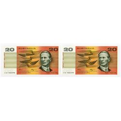 Australia, Reserve Bank, 1989 Sequential Banknote Pair.