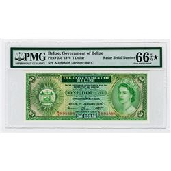 "Government of Belize 1976 High Grade ""RADAR"" Serial Number Note."