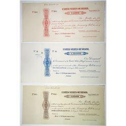 United States of Brazil, 1911 Specimen Treasury Bill Trio.