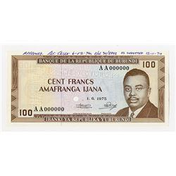 Banque De La Republique Du Burundi, 1975 Unique Approval Specimen.