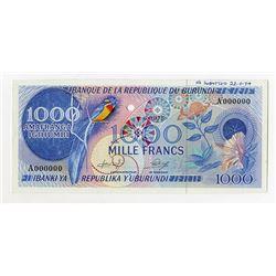 Banque De La Republique Du Burundi, 1975 Essay Specimen with 1975 date used on 19168 to 73 Note.