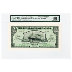 Royal Bank of Canada, St. John's, Antigua Branch 1920 Proof banknote.