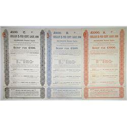 Chilean 5 Per Cent Loan, 1896 Specimen Bond Trio.