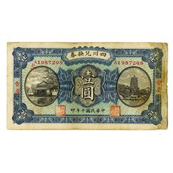 Szechuen Province, Exchange Certificate 1921, 1 Yuan Issued Scrip Note. _____1921________