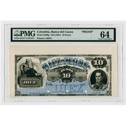 Banco Del Cauca, ND (1881) Proof Banknote.