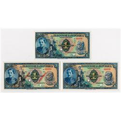 Banco De La Republica, 1943; 1947 & 1950 Specimen Banknotes