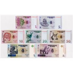 Banque Centrale Du Congo, 1997 Specimen Set of 7 Notes.