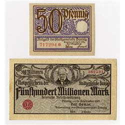 Stadtgemeinde Danzig. 1919-1923. Pair of Issued Notes.