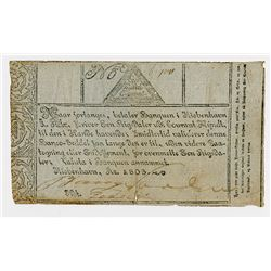 Copenhagen Notes, Exchange and Mortgage Bank, 1803 Banknote.
