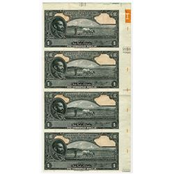 State Bank of Ethiopia. ND (1945). Uncut Sheet of 4 Proof Banknotes.