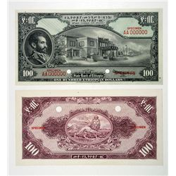 State Bank of Ethiopia, ND (1945) Issue Uniface Obverse & Reverse Specimens