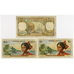 Institut d'Emission des Departememts d'Outre-Mer. 1963-1964. Trio of Issued Notes.