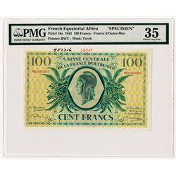 Caisse Centrale De La France D'Outre-Mer, 1944 Specimen Banknote.