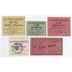 Germany. Notgeld, Officer POW Camp in Graudenz, 1918. Set of 5 different.