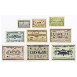 Germany. Notgeld, Officer POW Camp in Hesepe b. Bramsche, 1917. Set of 9 different.