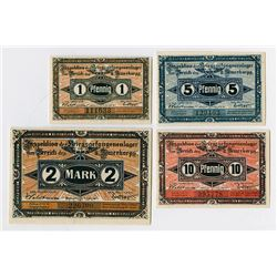 Germany. Notgeld, POW Camp in Guben, 1917. Set of 4 different.