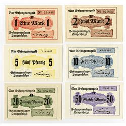Germany. Notgeld, POW Camp in Langenfalza, 1916-1918 Lot of 6 Notes.