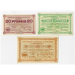 Germany. Notgeld, POW Camp in Minden, 1917, Lot of 3 notes. 20 & 50 pf and 5 Mark (3)