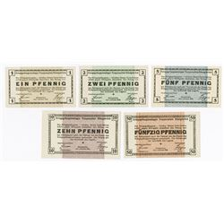 Germany. Notgeld, POW Camp in Truppenplatz Koenigsbrueck, 1915. Set of 5 different.
