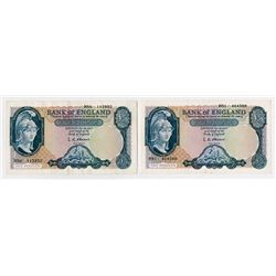 Bank of England, ND (1957-61) Issue Banknote Pair.