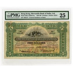 Mercantile Bank of India, 1930 $5 Issued Banknote Rarity.