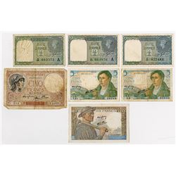 Government of India, 1940 lot of 3 notes Plus Some French Friends.