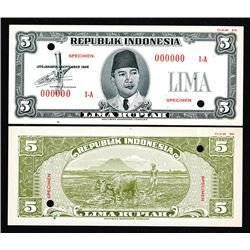 Republik Indonesia, 1948 Essay 5 Rupiah Uniface Front & Back Banknote Specimens.