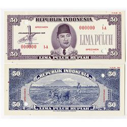 Republik Indonesia, 1948 Essay 50 Rupiah Uniface Front & Back Banknote Specimens.