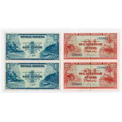 Republik Indonesia, 1951 & 1953 Uncut Specimen Pair Duo.