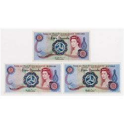 Isle of Man Government, 1972 ND Issue Banknote Trio.
